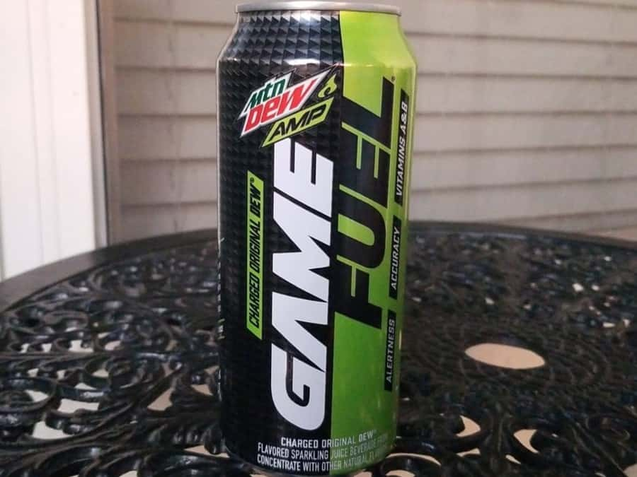 A can of Game Fuel on the table.