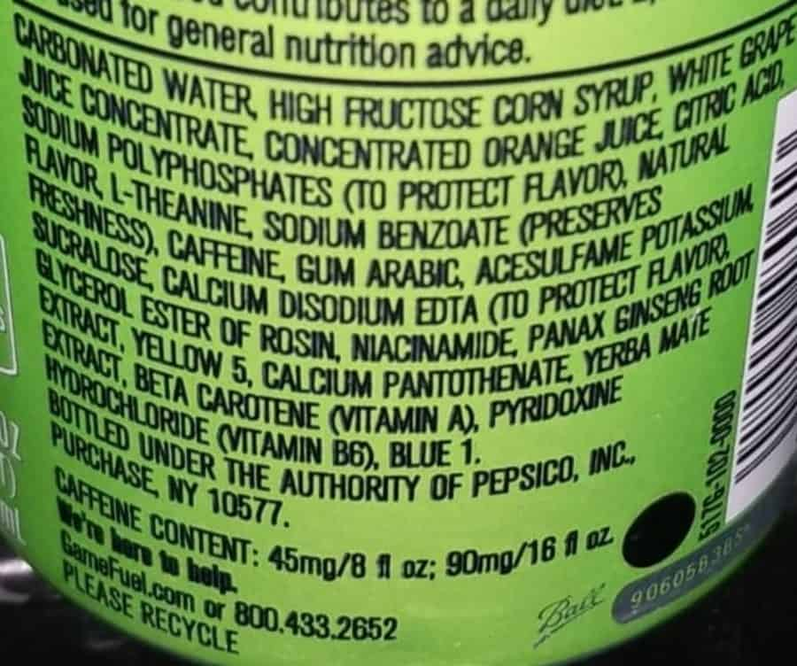 The back of a Game Fuel, showing its ingredients list.