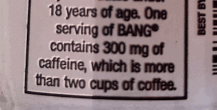 Warning note on the back of the can stating that Bang has 300mg of caffeine