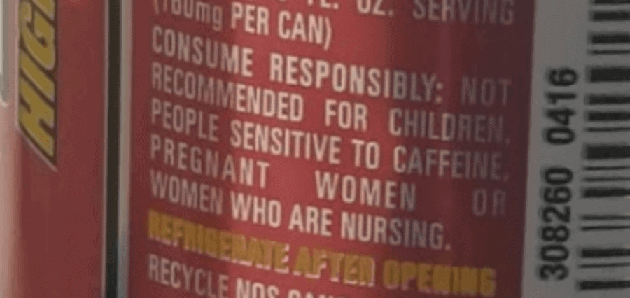 Warning note on the label of NOS.