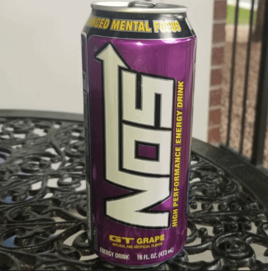 GT grape flavor of NOS energy drink on a table