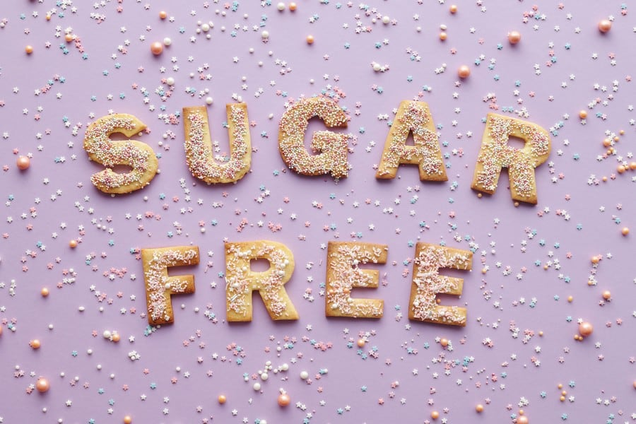 The words sugar free spelled with cookies.