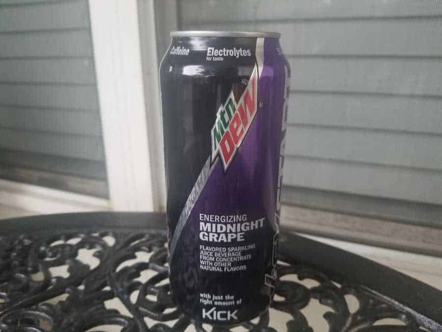 Mountain Dew Kickstart energy drink on a table