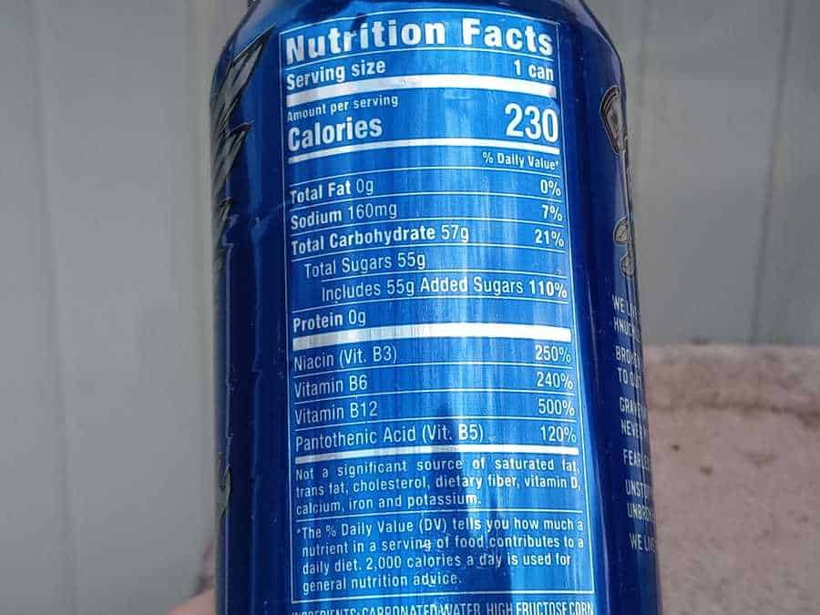 Nutrition facts on back of Full Throttle