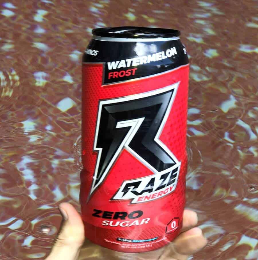 A can of Raze energy drink; Watermelon frost flavor.