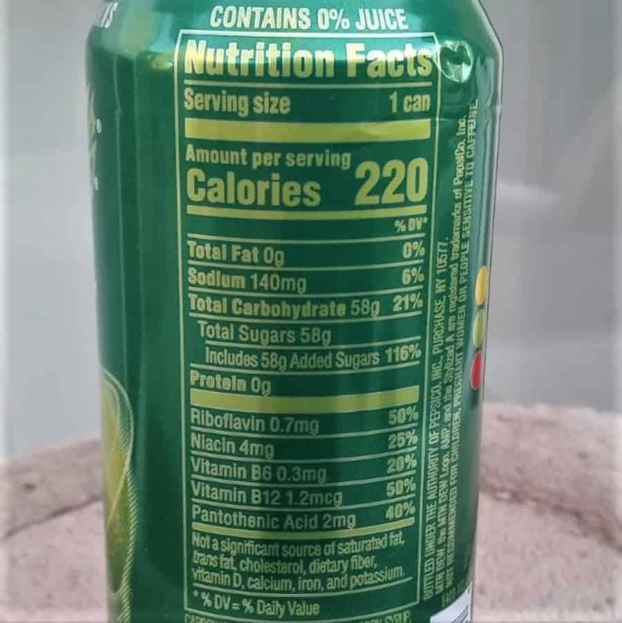 The nutritional label at the back of a can of AMP Energy Drink.