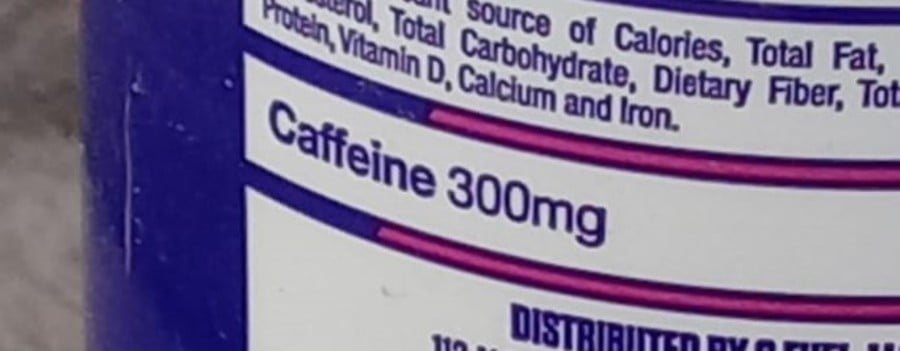 The caffeine content as stated at the back of a G Fuel can.