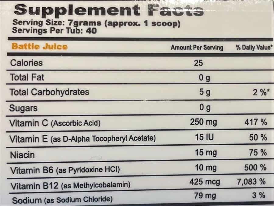 The nutritional value of a serving of G Fuel.