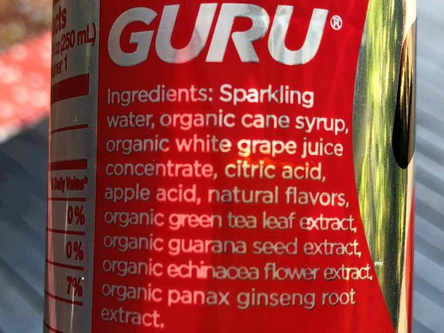 GURU Energy Drink Ingredients