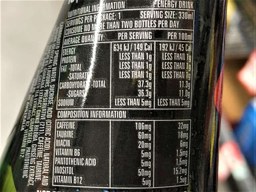 Red Eye Energy Drink Nutrition Facts