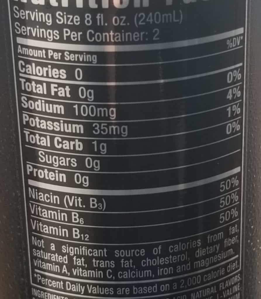 Reign Nutritional Facts