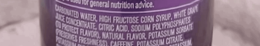 List of ingredients of Mountain Dew Kickstart on the back of the can