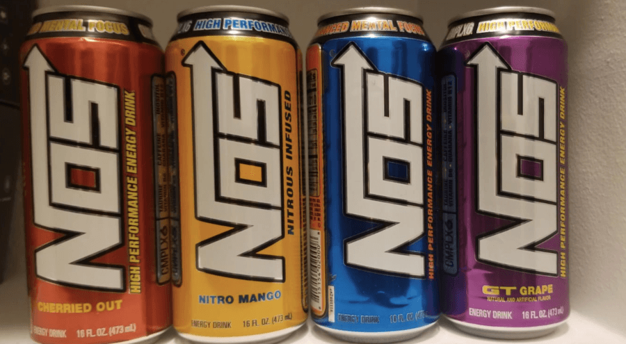 Four flavors of NOS energy drink
