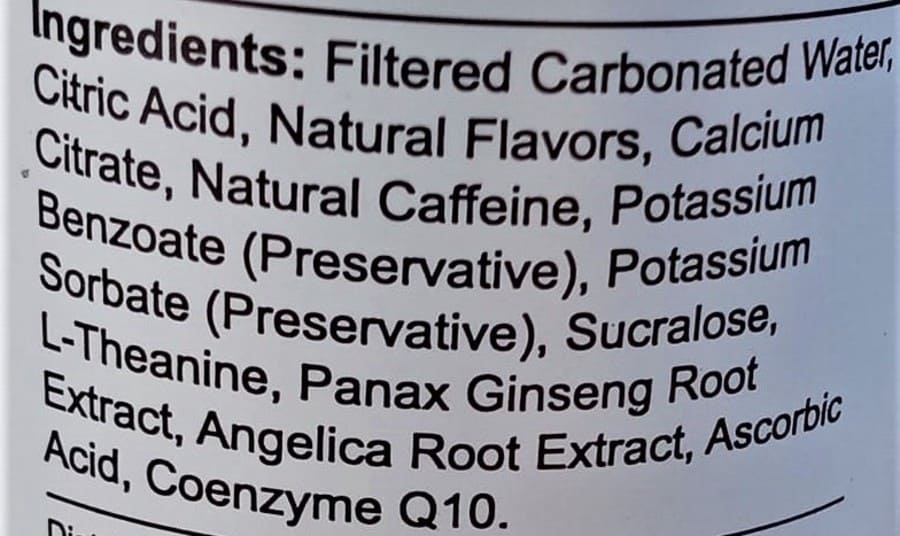 Uptime Energy Drink Sugar-Free Ingredients.