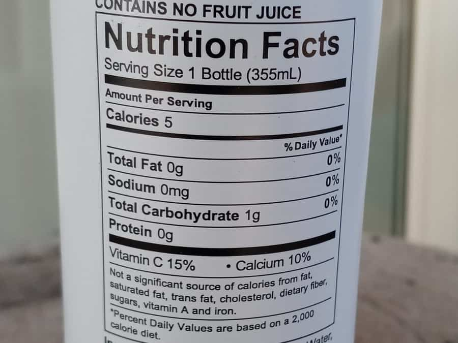 Th nutrition facts on a bottle of Uptime energy drink.
