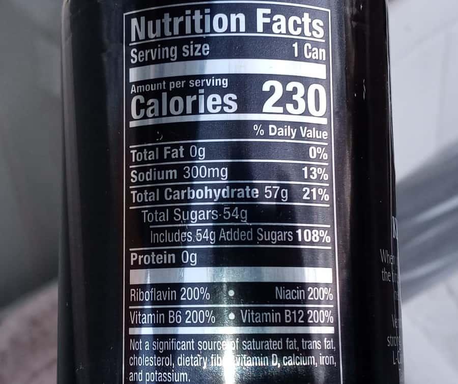 Venom Energy Drink Nutrition Facts