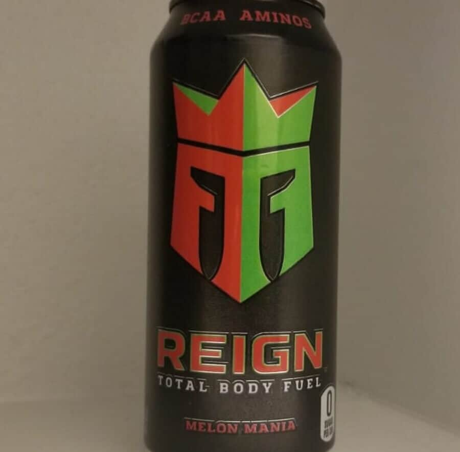 A can of REIGN energy drink.