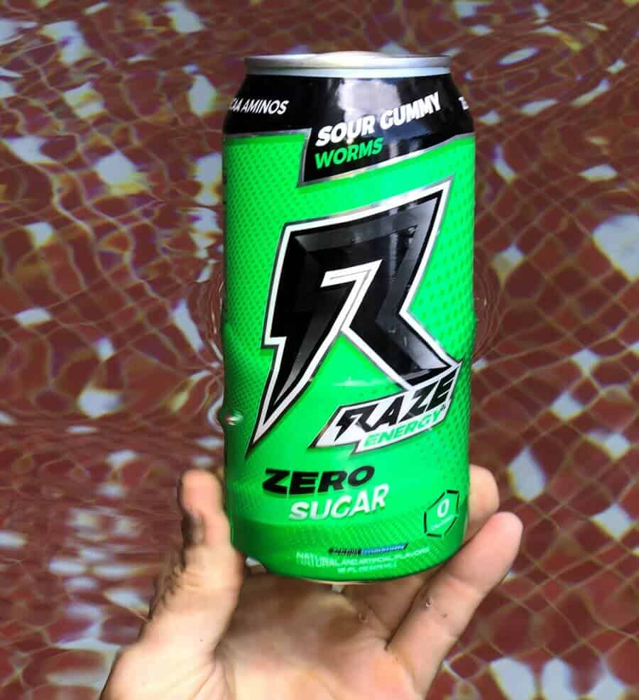 A can of RAZE energy drink Sour Gummy flavoured.