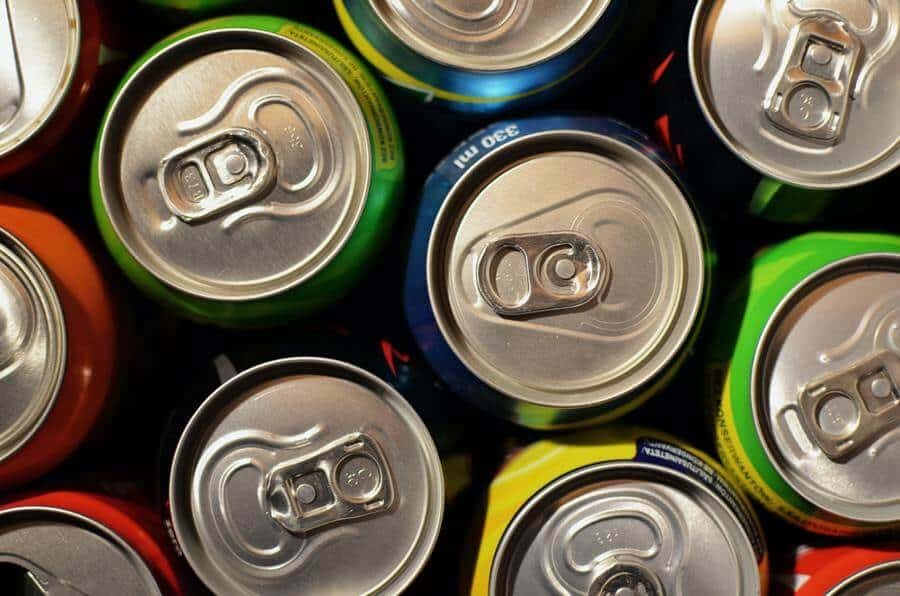 Top view of canned energy drinks.