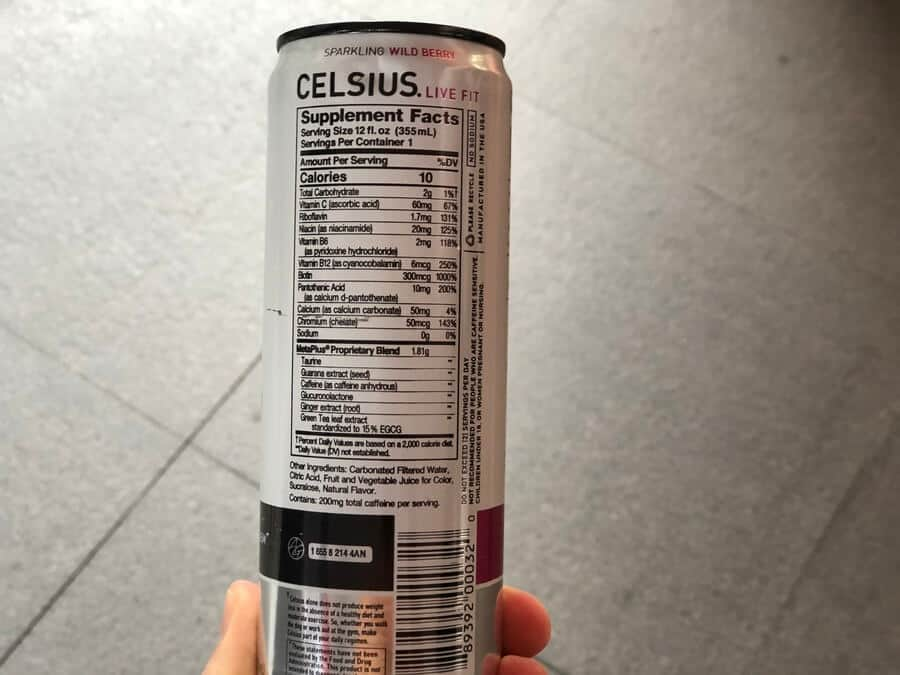Ingredients label on the can of Celsius.