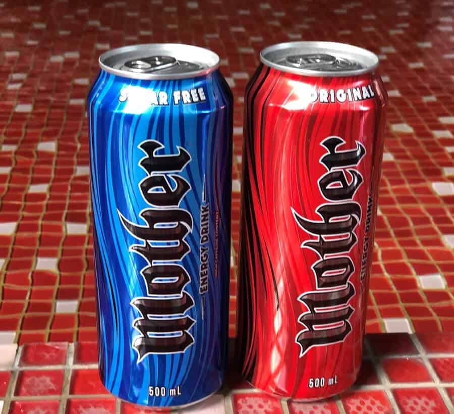 Two cans of Mother energy drink.