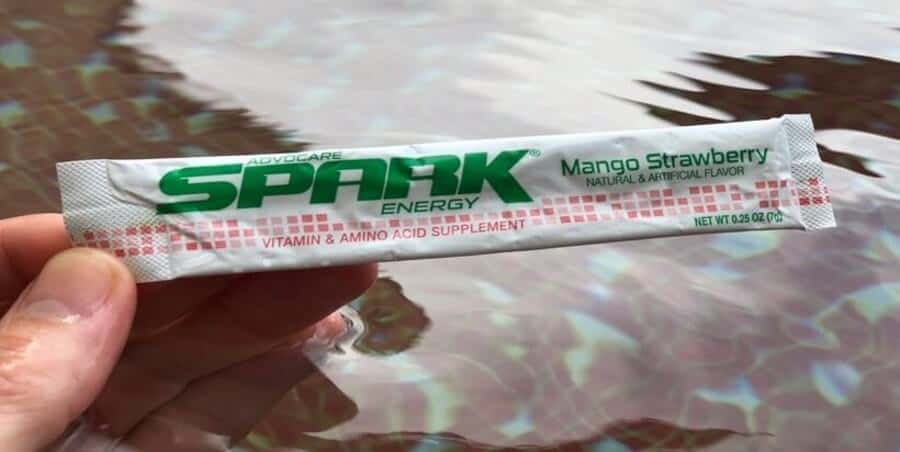 A sachet of Advocare Spark energy drink