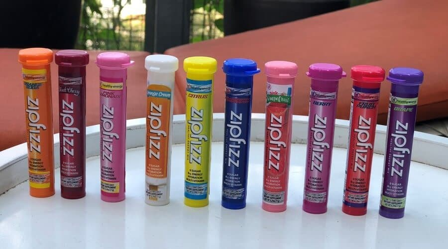 Ten tubes of different Zipfizz flavors.