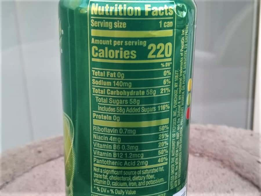 AMP Energy Drink Nutrition Label