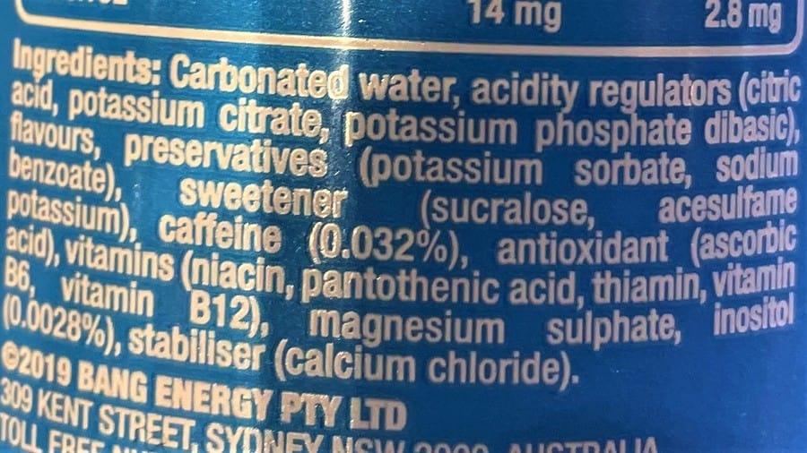 Bang Australia Ingredients
