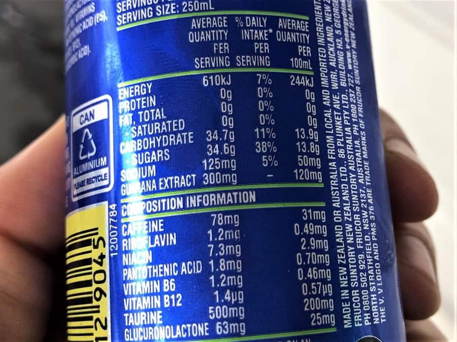 Blue V Nutrition Facts