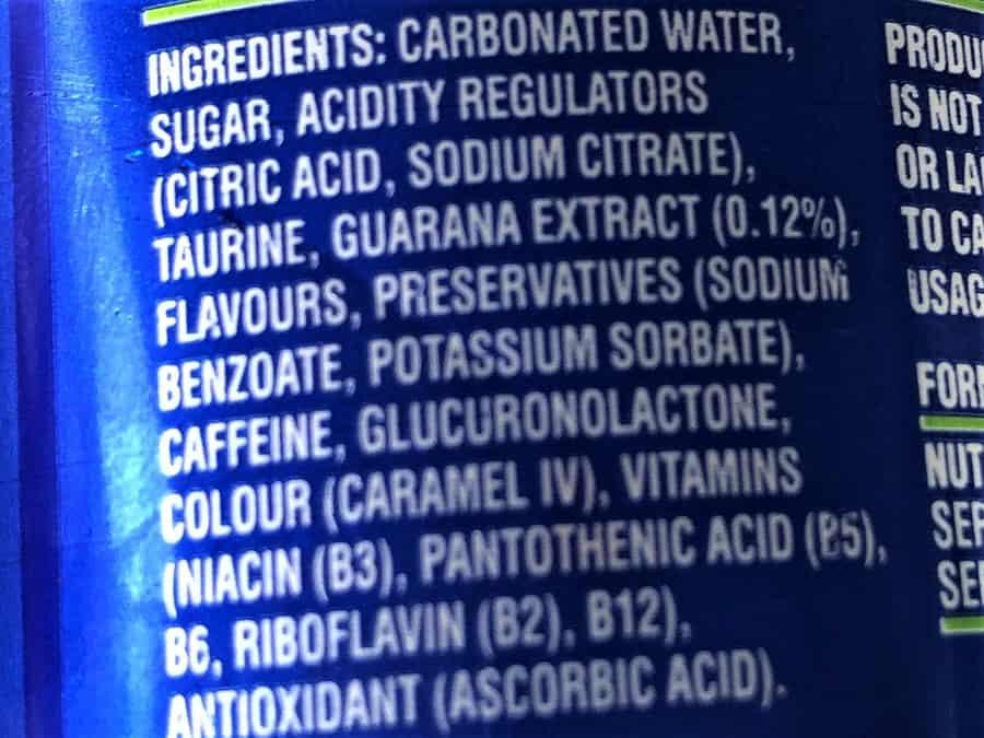 Blue V Energy Drink Ingredients