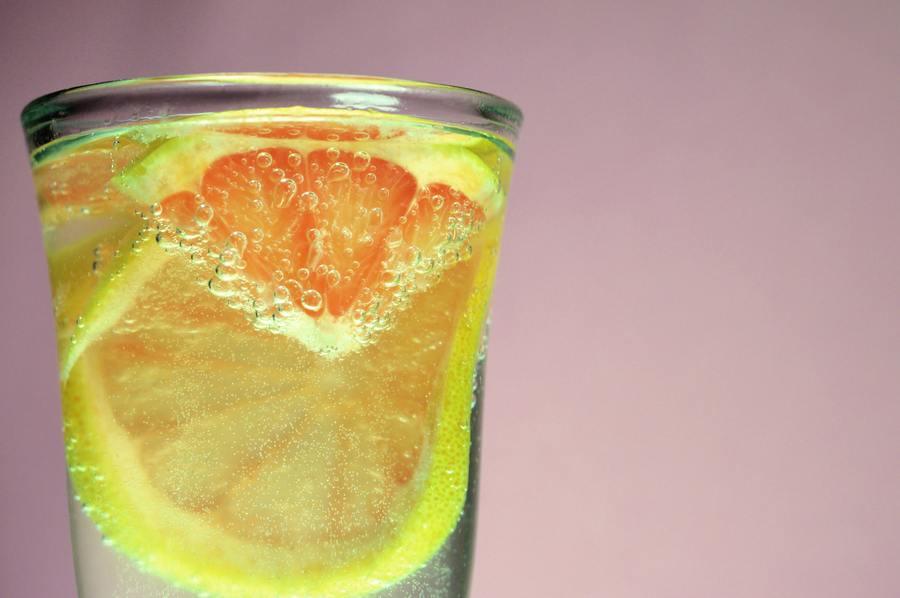 A glass of lemon water