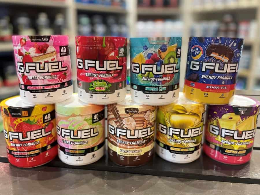 Multi flavors of G Fuel on a table.