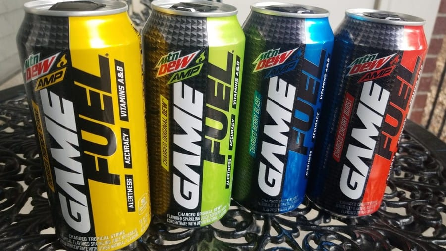 Some Game Fuel energy drink cans.