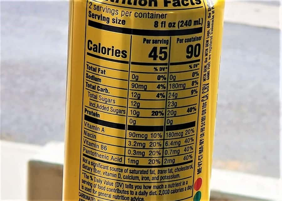 Game Fuel Nutrition Facts