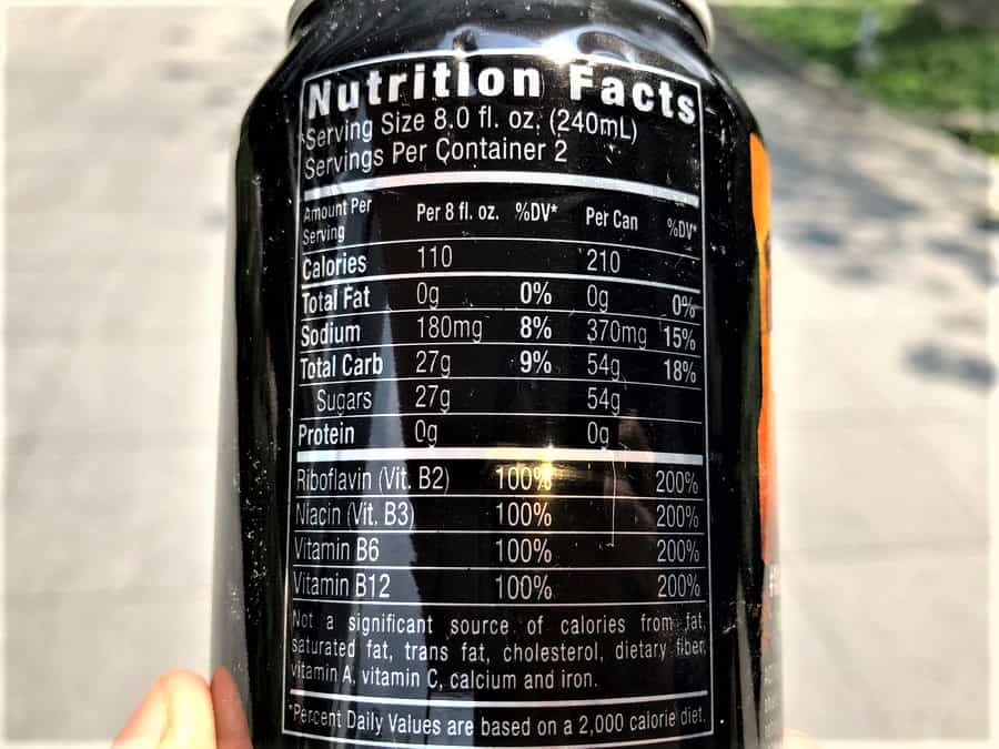 Monster Energy Nutrition Facts