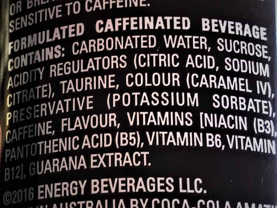 Mother Energy Drink Original Ingredients