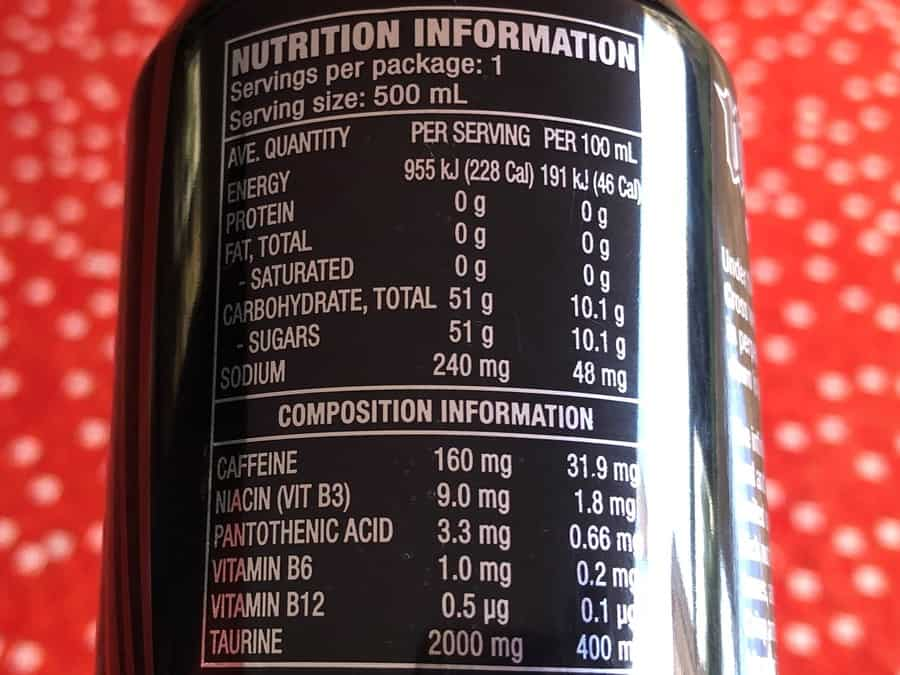Mother Energy Drink Original Nutrition Facts