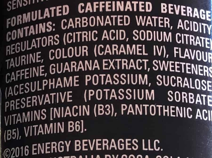 Mother Energy Drink Sugar-Free Ingredients