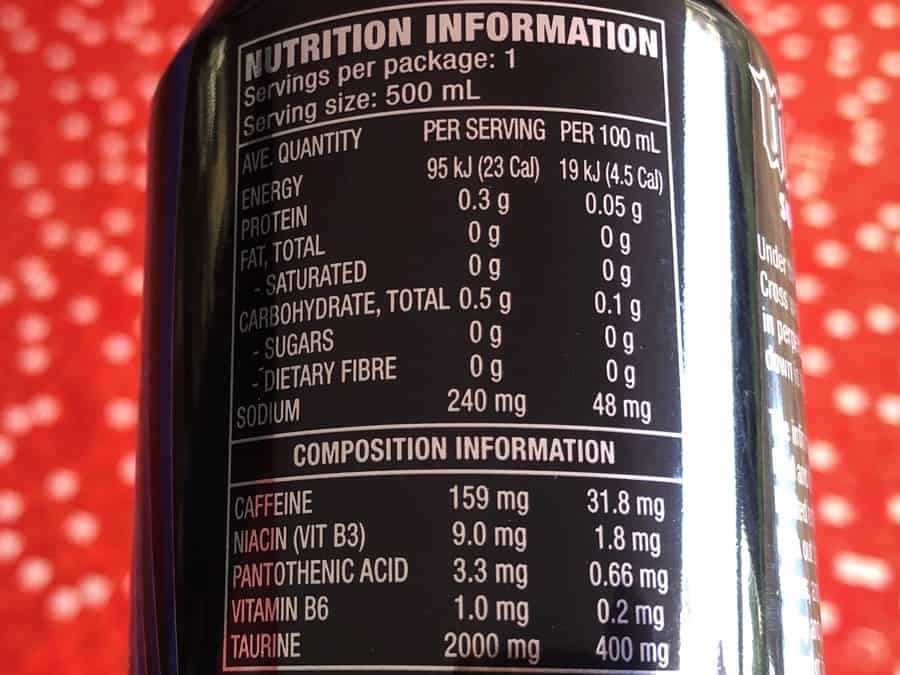 Mother Energy Drink Sugar-Free Nutrition Facts