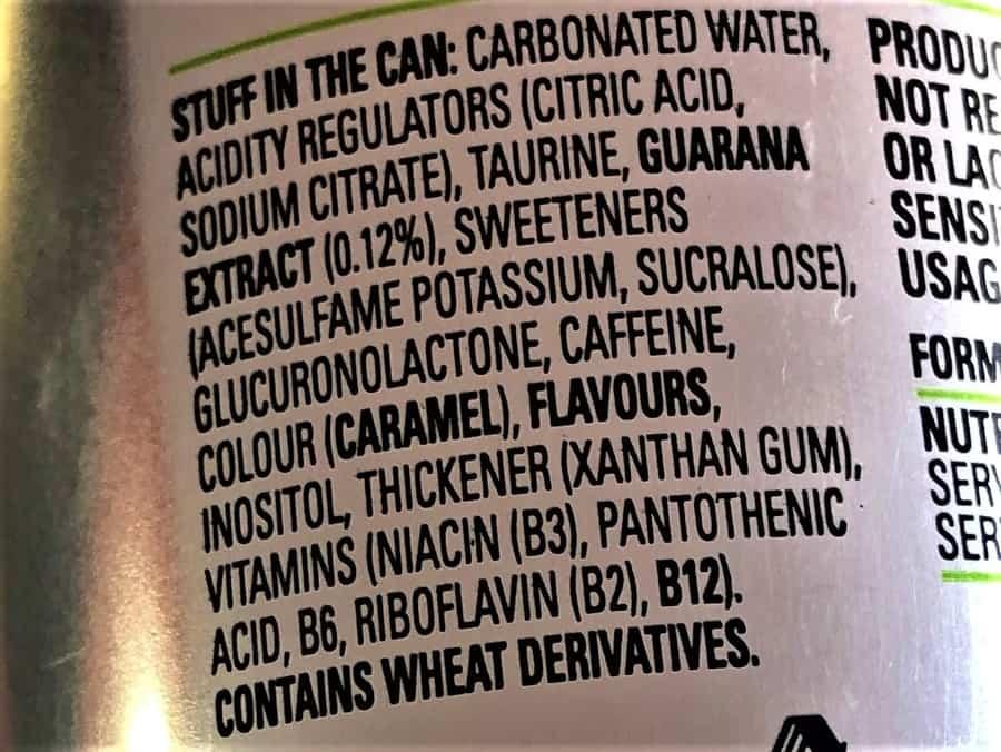 V Energy Sugar-Free Ingredients