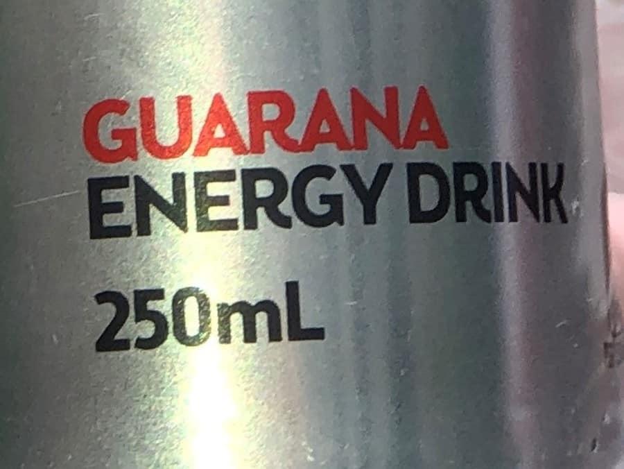 Gurana Energy Drink label on V Energy Sugar-Free