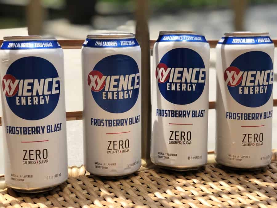 A line of Xyience Energy Frostberry Blast Cans,