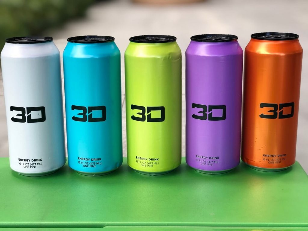 A picture of 5 cans of 3D Energy