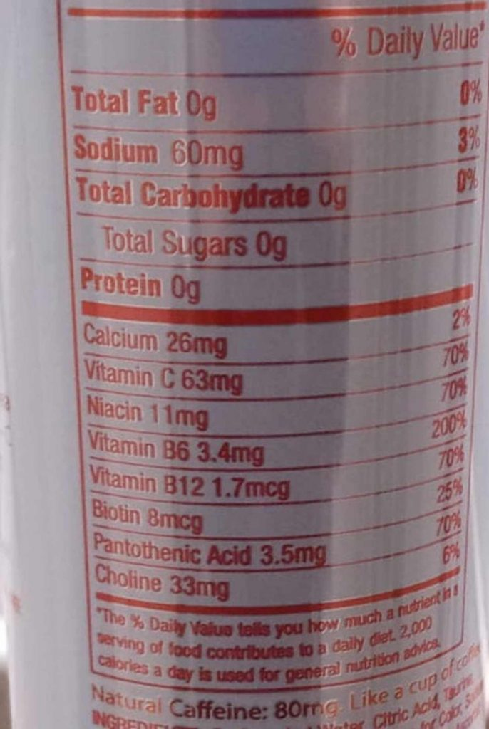 The nutritional value of Aspire Energy Drink behind the can.