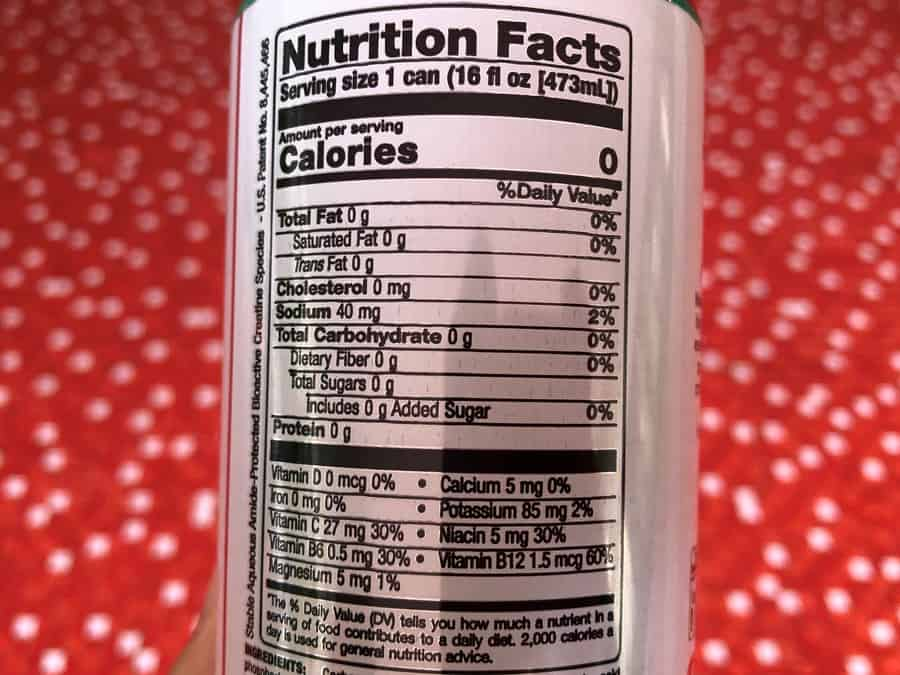 The nutritional facts of Bang.