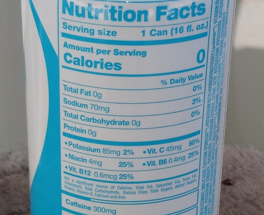 The nutritional value at back of a can of G Fuel can.