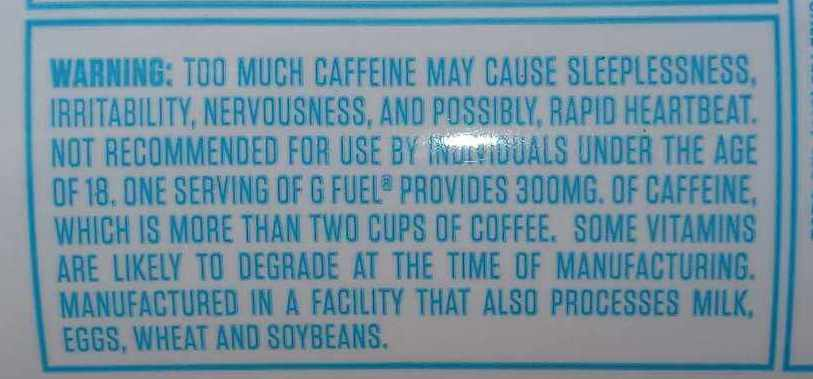 A picture of G Fuel Can warning label.