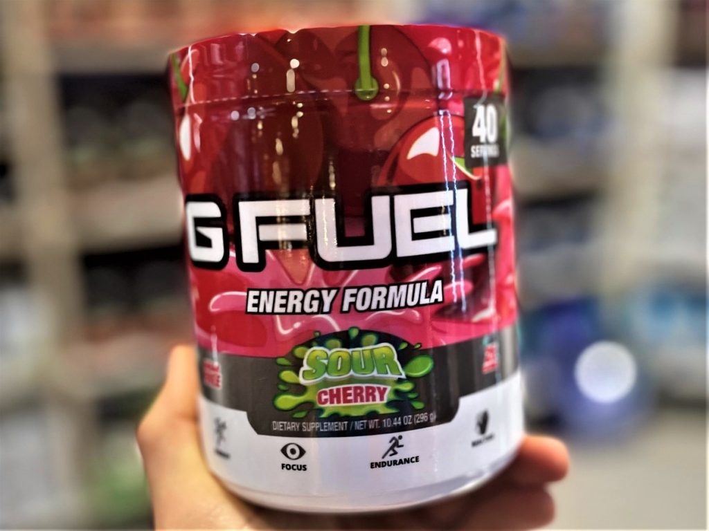 Close up of a tub of G Fuel.