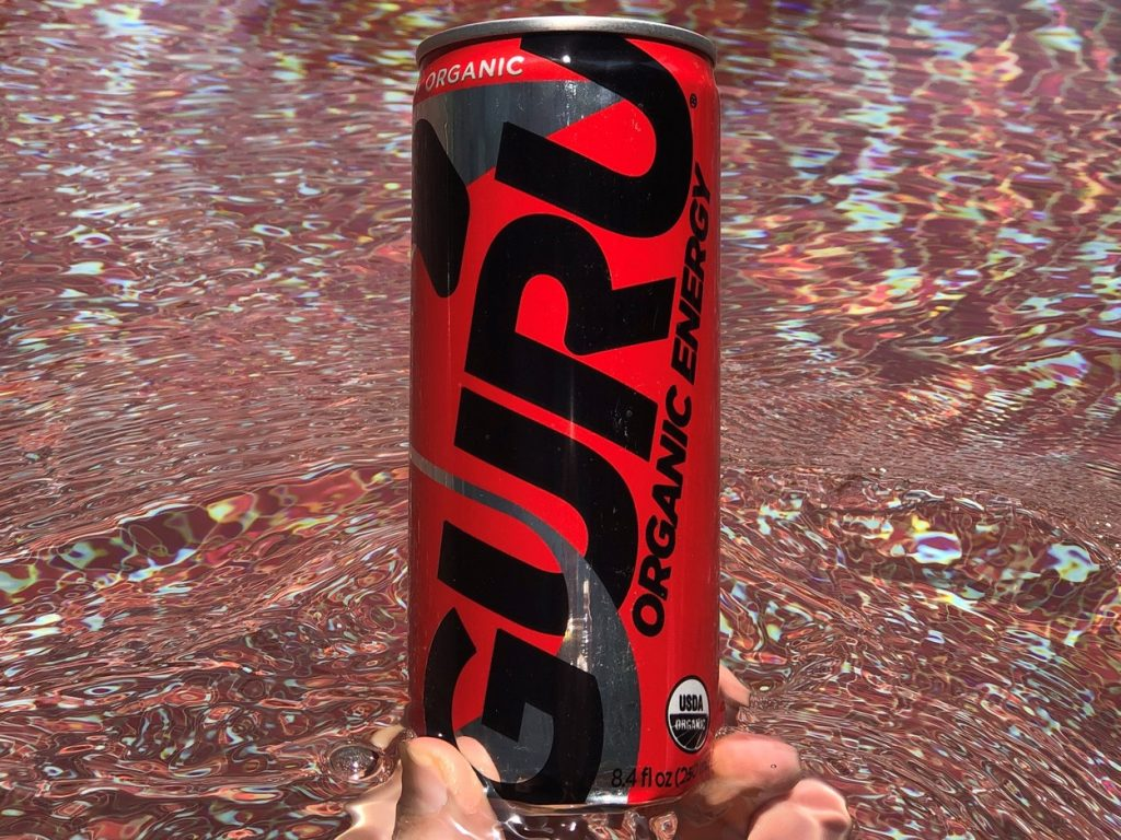 Close up of a can of Guru Energy Drink.
